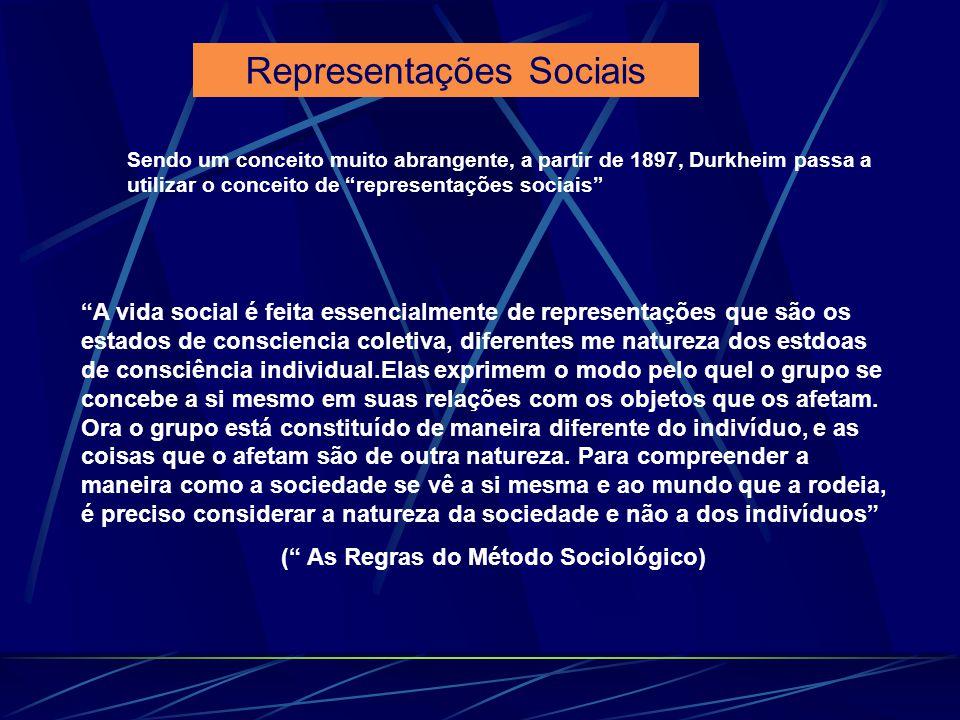 Sendo um conceito muito abrangente, a partir de 1897, Durkheim passa a utilizar o conceito de representações sociais A vida social é feita essencialme