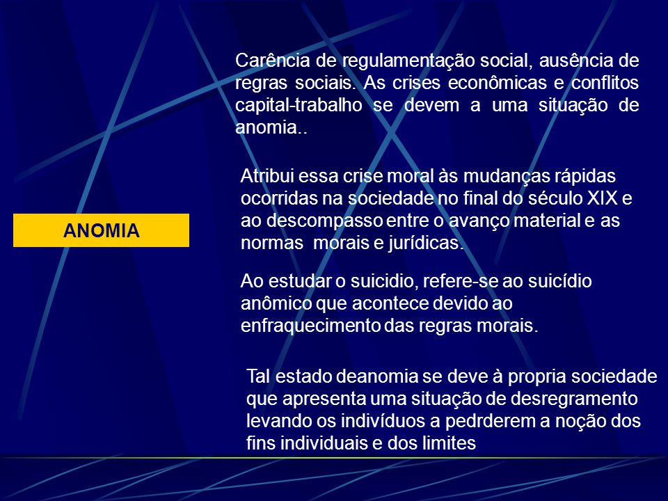 ANOMIA Carência de regulamentação social, ausência de regras sociais. As crises econômicas e conflitos capital-trabalho se devem a uma situação de ano