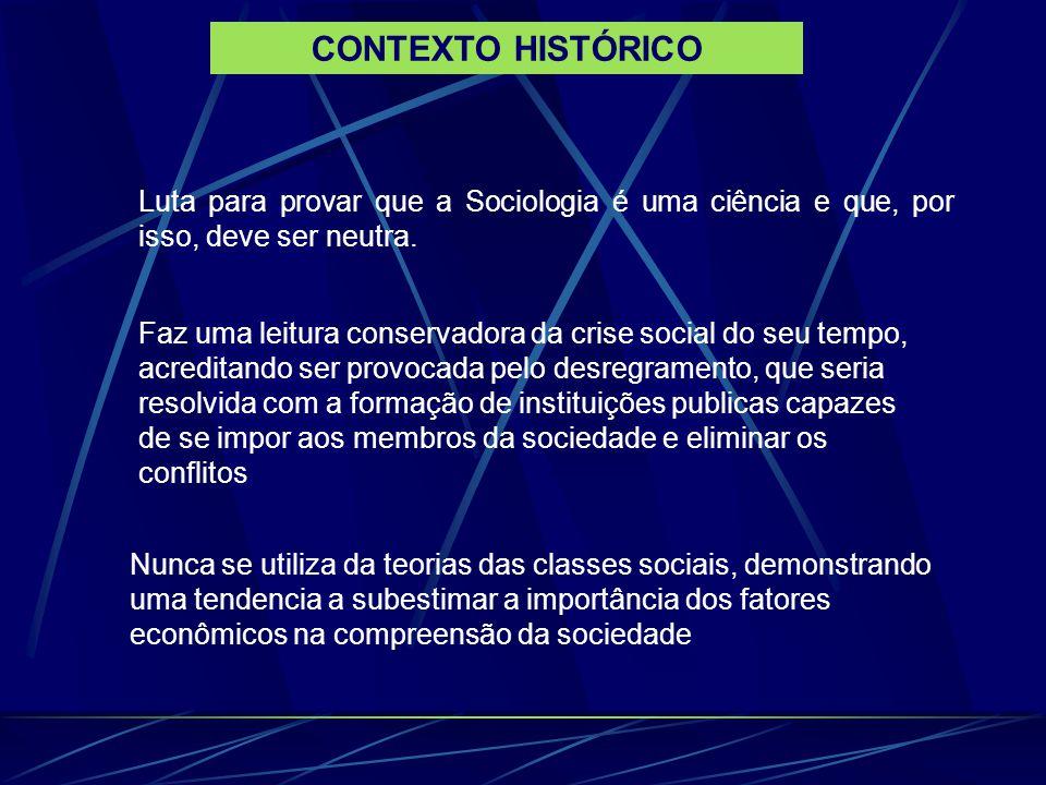OBRAS PRINCIPAIS 1893- DA DIVISÃO DO TRABALHO SOCIAL 1895 AS REGRAS DO MÉTODO SOCIOLÓGICO 1897 – o SUICÍDIO 1912- AS FORMAS ELEMENTARES DA VIDA RELIGIOSA