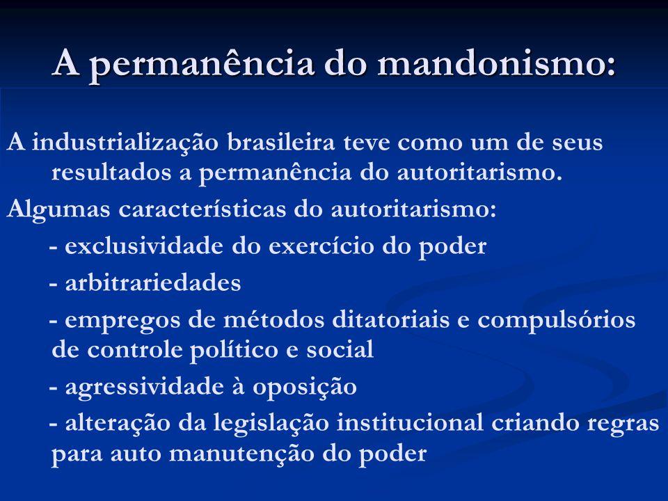 A permanência do mandonismo: A industrialização brasileira teve como um de seus resultados a permanência do autoritarismo. Algumas características do