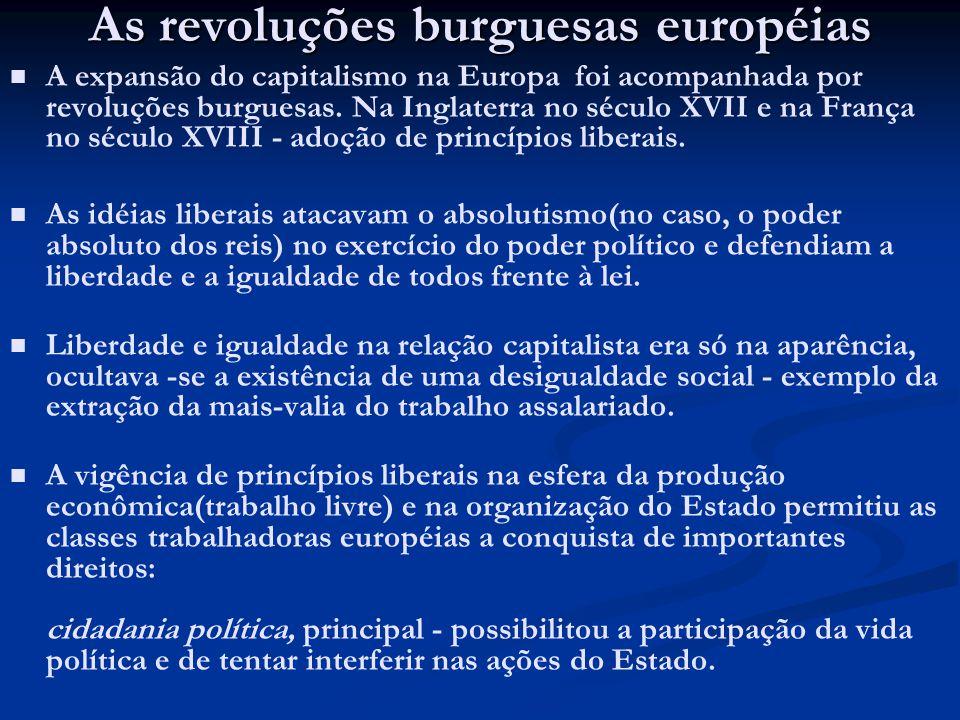 As revoluções burguesas européias A expansão do capitalismo na Europa foi acompanhada por revoluções burguesas. Na Inglaterra no século XVII e na Fran