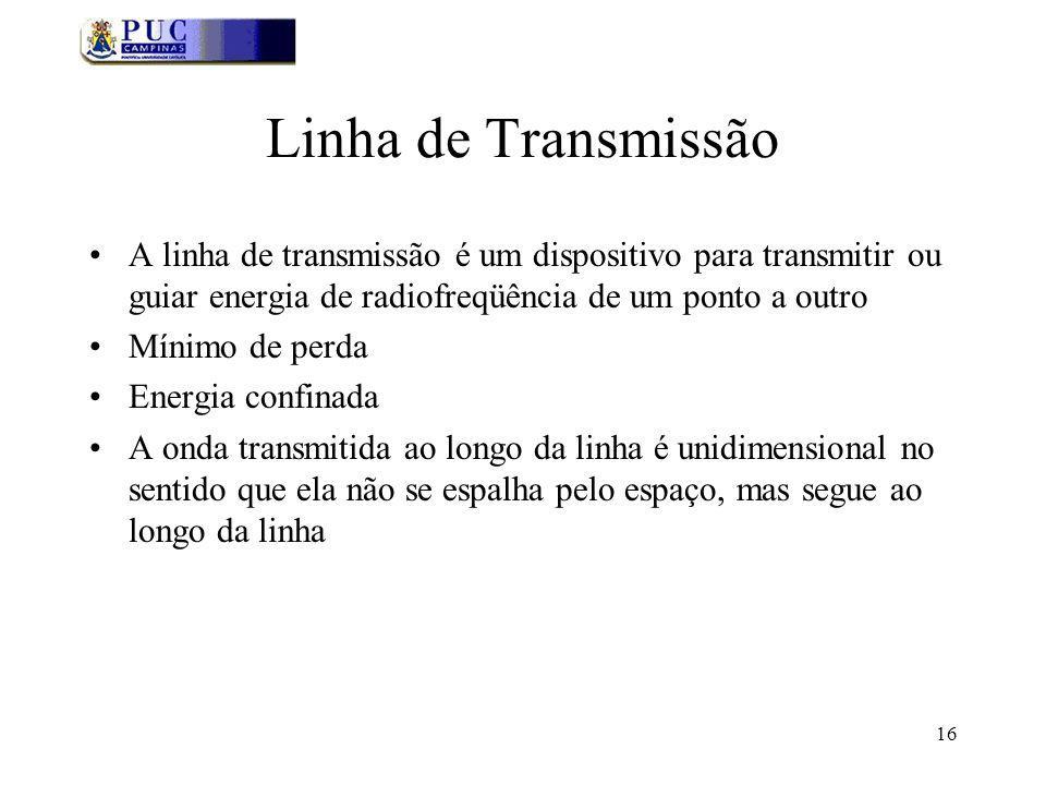 16 Linha de Transmissão A linha de transmissão é um dispositivo para transmitir ou guiar energia de radiofreqüência de um ponto a outro Mínimo de perda Energia confinada A onda transmitida ao longo da linha é unidimensional no sentido que ela não se espalha pelo espaço, mas segue ao longo da linha