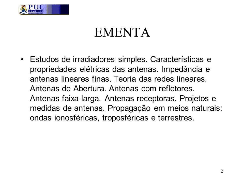 2 EMENTA Estudos de irradiadores simples.Características e propriedades elétricas das antenas.