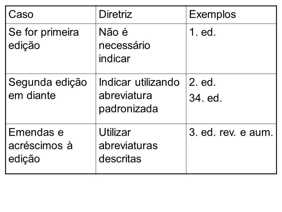 CasoDiretrizExemplos Se for primeira edição Não é necessário indicar 1. ed. Segunda edição em diante Indicar utilizando abreviatura padronizada 2. ed.