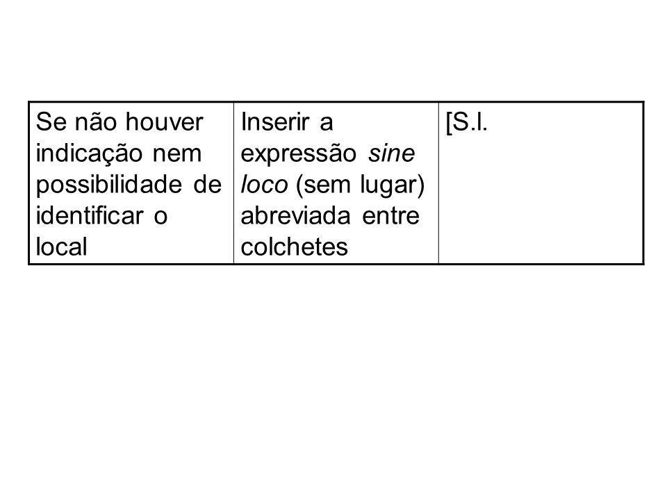 Se não houver indicação nem possibilidade de identificar o local Inserir a expressão sine loco (sem lugar) abreviada entre colchetes [S.l.