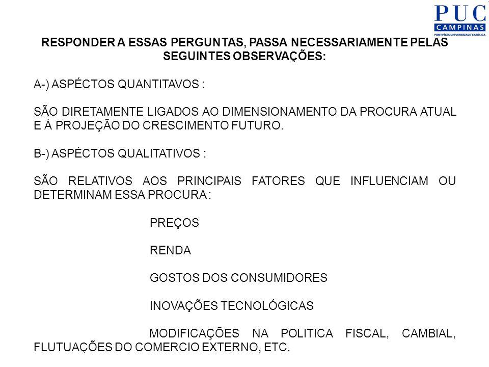 AS ETAPAS DO ESTUDO DE MERCADO 1-) COLETA DE ANTECEDENTES, ESTATÍSTICOS OU NÃO, COM O OBJETIVO DE: IDENTIFICAR O PRODUTO DELIMITAÇÃO DA ÁREA DE MERCADO DIMENSIONAMENTO DA PROCURA E OFERTA ATUAL 2-) OBSERVAR : PROJEÇÃO DE TENDENCIAS DEFINIR PROCURA E OFERTA POTENCIAL DEFINIR MERCADO EXISTENTE E PARA O PROJETO