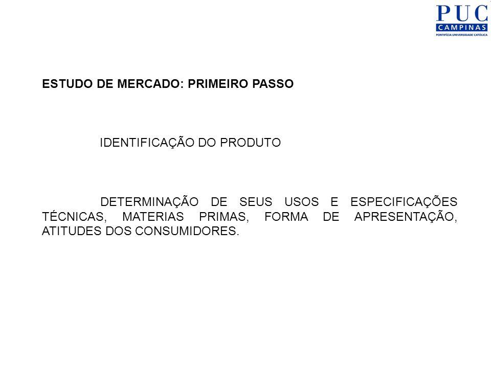 ESTUDO DE MERCADO: PRIMEIRO PASSO IDENTIFICAÇÃO DO PRODUTO DETERMINAÇÃO DE SEUS USOS E ESPECIFICAÇÕES TÉCNICAS, MATERIAS PRIMAS, FORMA DE APRESENTAÇÃO