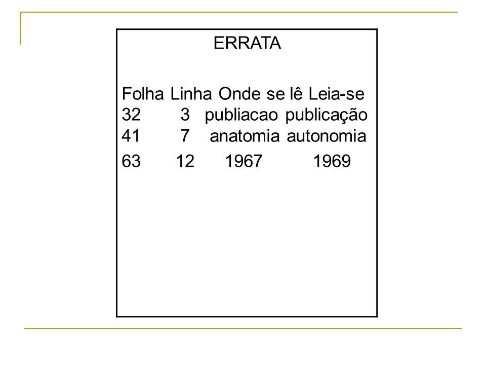 ERRATA Folha Linha Onde se lê Leia-se 32 3 publiacao publicação 41 7 anatomia autonomia 63 12 1967 1969
