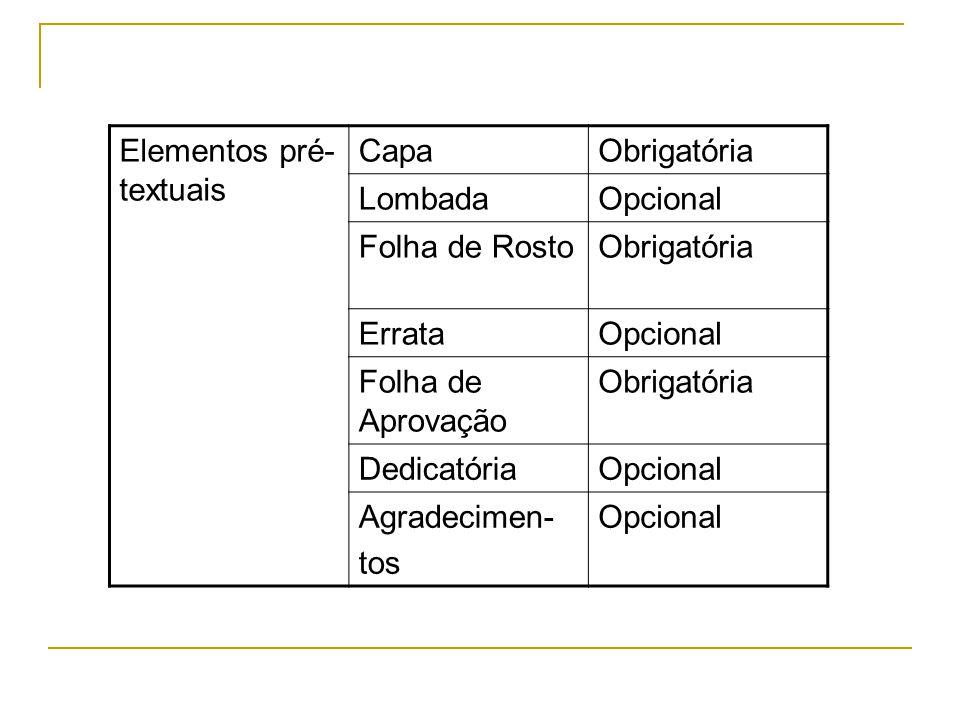 Elementos pré- textuais CapaObrigatória LombadaOpcional Folha de RostoObrigatória ErrataOpcional Folha de Aprovação Obrigatória DedicatóriaOpcional Ag