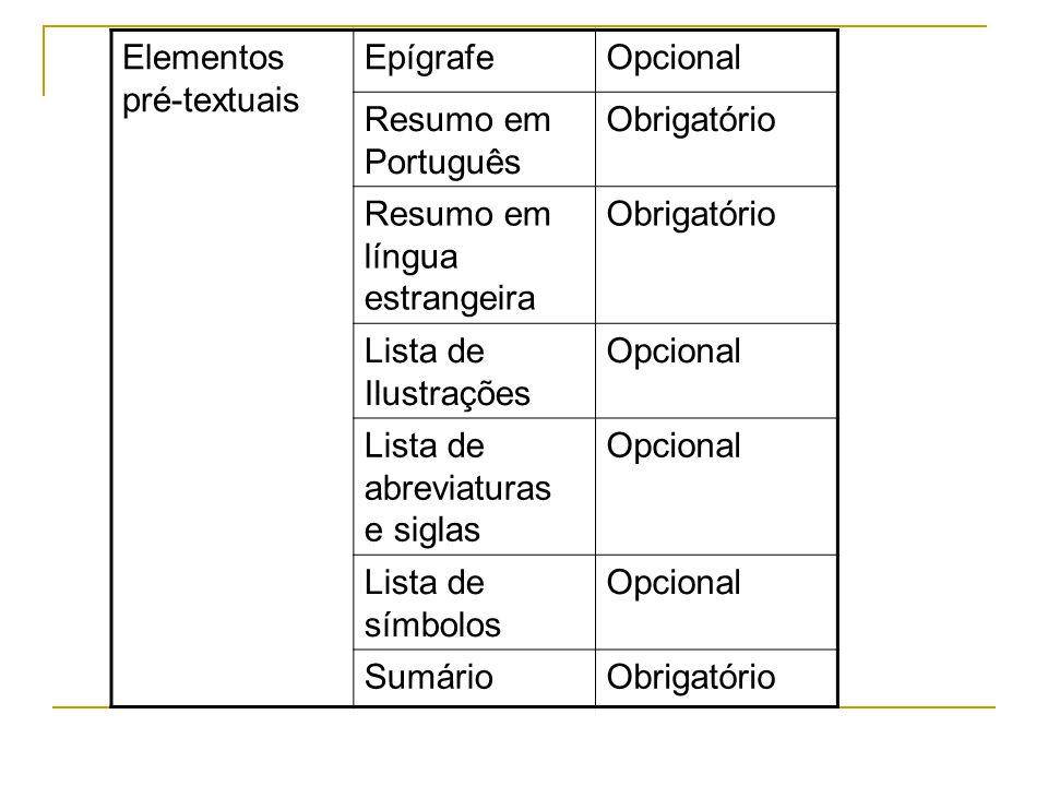Elementos pré-textuais EpígrafeOpcional Resumo em Português Obrigatório Resumo em língua estrangeira Obrigatório Lista de Ilustrações Opcional Lista d