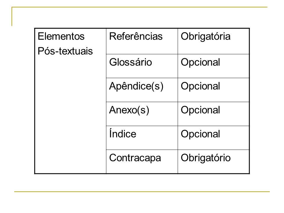 Elementos Pós-textuais ReferênciasObrigatória GlossárioOpcional Apêndice(s)Opcional Anexo(s)Opcional ÍndiceOpcional ContracapaObrigatório