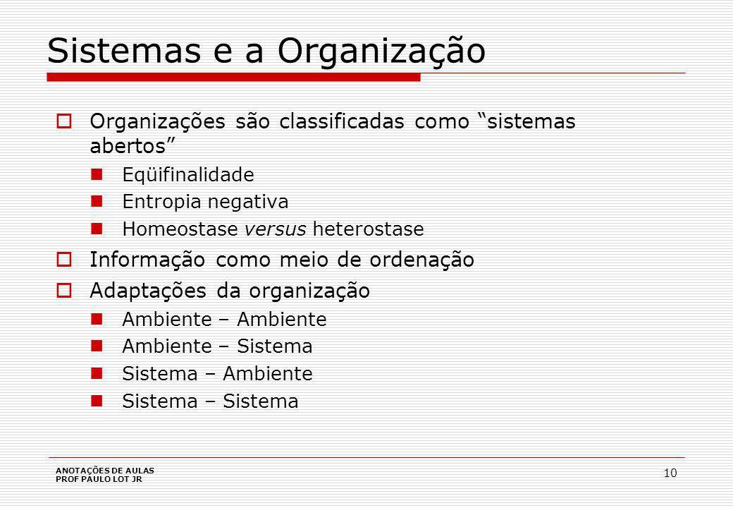 ANOTAÇÕES DE AULAS PROF PAULO LOT JR 10 Sistemas e a Organização Organizações são classificadas como sistemas abertos Eqüifinalidade Entropia negativa Homeostase versus heterostase Informação como meio de ordenação Adaptações da organização Ambiente – Ambiente Ambiente – Sistema Sistema – Ambiente Sistema – Sistema
