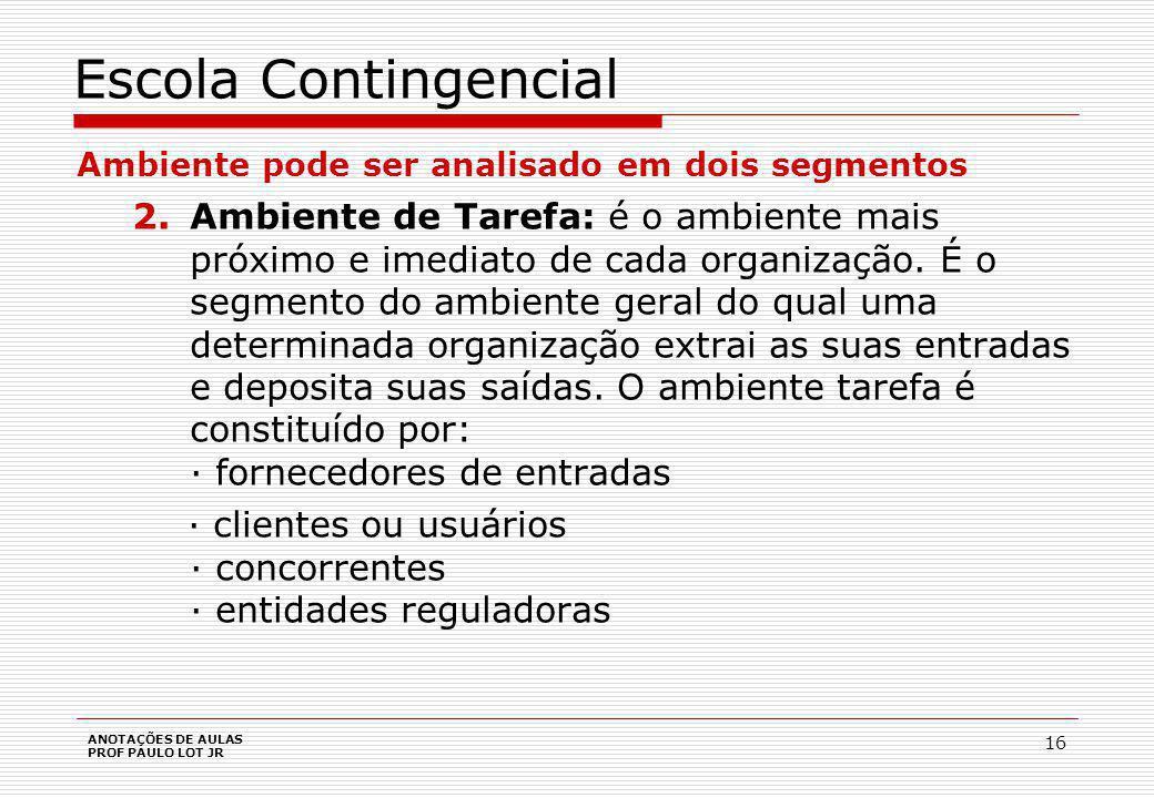 ANOTAÇÕES DE AULAS PROF PAULO LOT JR 16 Escola Contingencial Ambiente pode ser analisado em dois segmentos 2.Ambiente de Tarefa: é o ambiente mais próximo e imediato de cada organização.