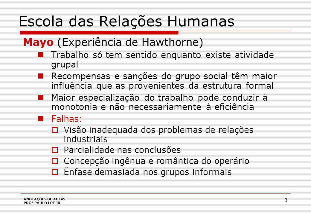 ANOTAÇÕES DE AULAS PROF PAULO LOT JR 14 Escola Contingencial Duas variáveis principais que determinam toda a organização da empresa e os relacionamentos entre suas partes: o ambiente e a tecnologia.