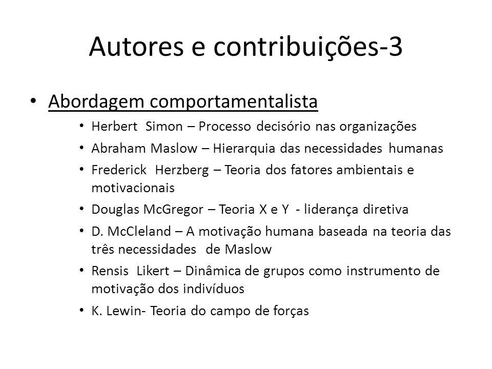 Autores e contribuições-3 Abordagem comportamentalista Herbert Simon – Processo decisório nas organizações Abraham Maslow – Hierarquia das necessidade
