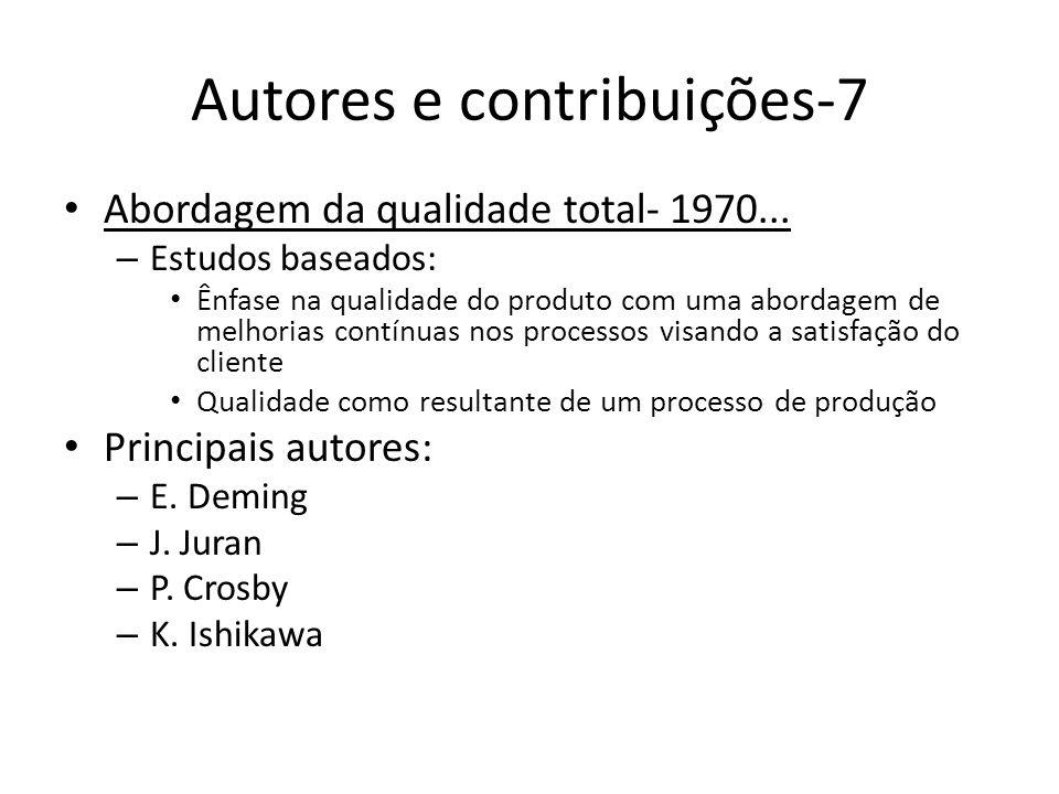 Autores e contribuições-7 Abordagem da qualidade total- 1970... – Estudos baseados: Ênfase na qualidade do produto com uma abordagem de melhorias cont
