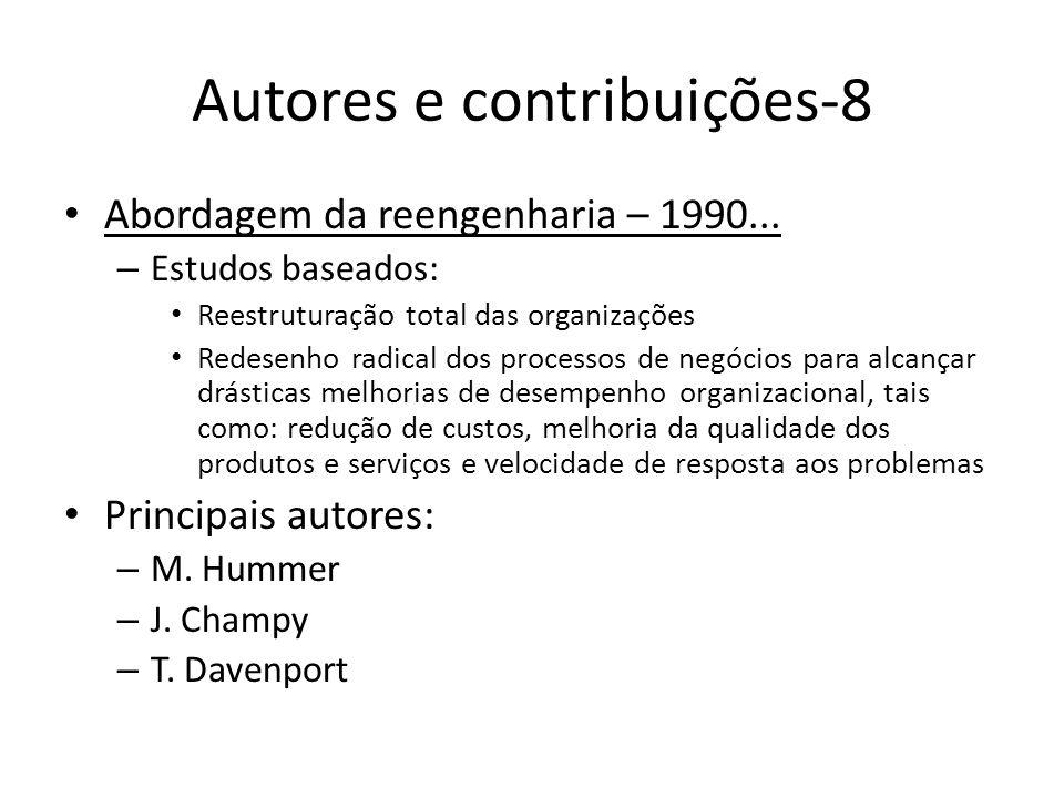 Autores e contribuições-8 Abordagem da reengenharia – 1990... – Estudos baseados: Reestruturação total das organizações Redesenho radical dos processo