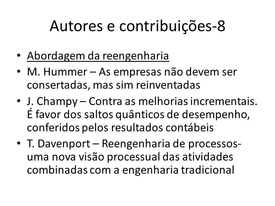Autores e contribuições-8 Abordagem da reengenharia M. Hummer – As empresas não devem ser consertadas, mas sim reinventadas J. Champy – Contra as melh