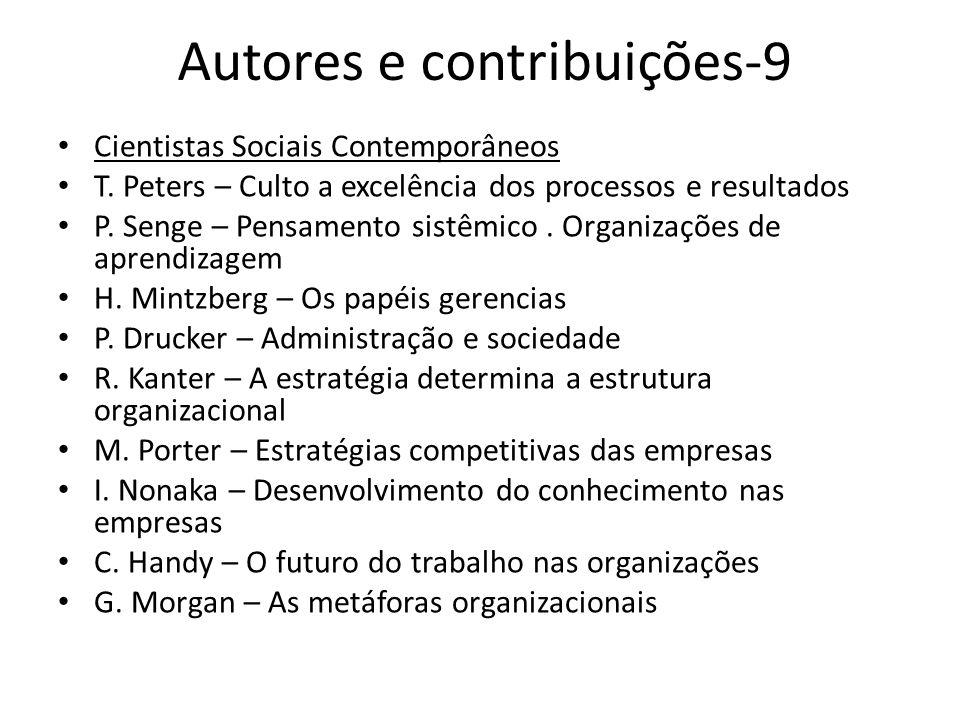 Autores e contribuições-9 Cientistas Sociais Contemporâneos T. Peters – Culto a excelência dos processos e resultados P. Senge – Pensamento sistêmico.