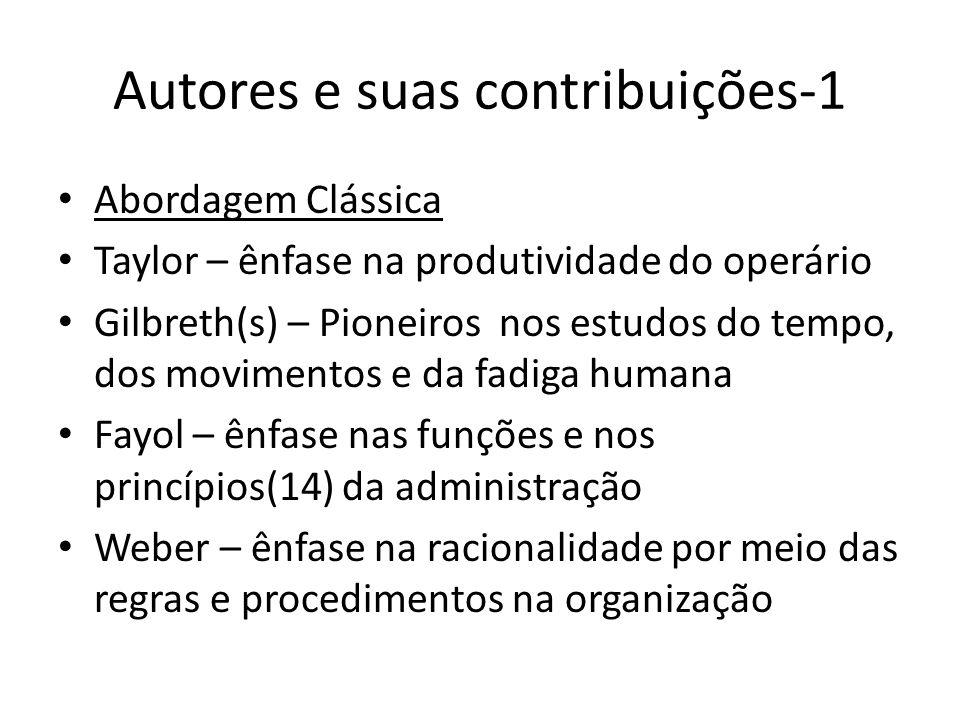 Autores e suas contribuições-1 Abordagem Clássica Taylor – ênfase na produtividade do operário Gilbreth(s) – Pioneiros nos estudos do tempo, dos movim