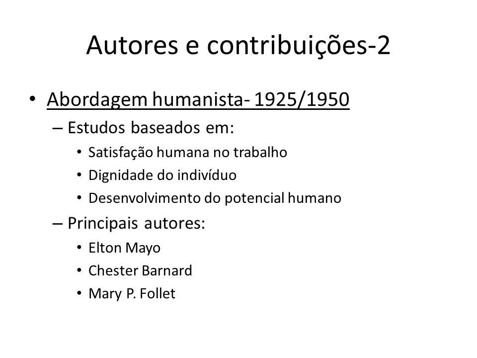 Autores e contribuições-2 Abordagem humanista- 1925/1950 – Estudos baseados em: Satisfação humana no trabalho Dignidade do indivíduo Desenvolvimento d