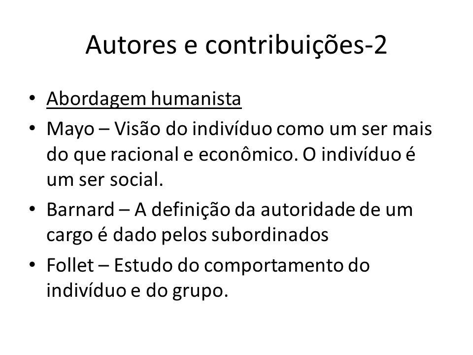 Autores e contribuições-2 Abordagem humanista Mayo – Visão do indivíduo como um ser mais do que racional e econômico. O indivíduo é um ser social. Bar