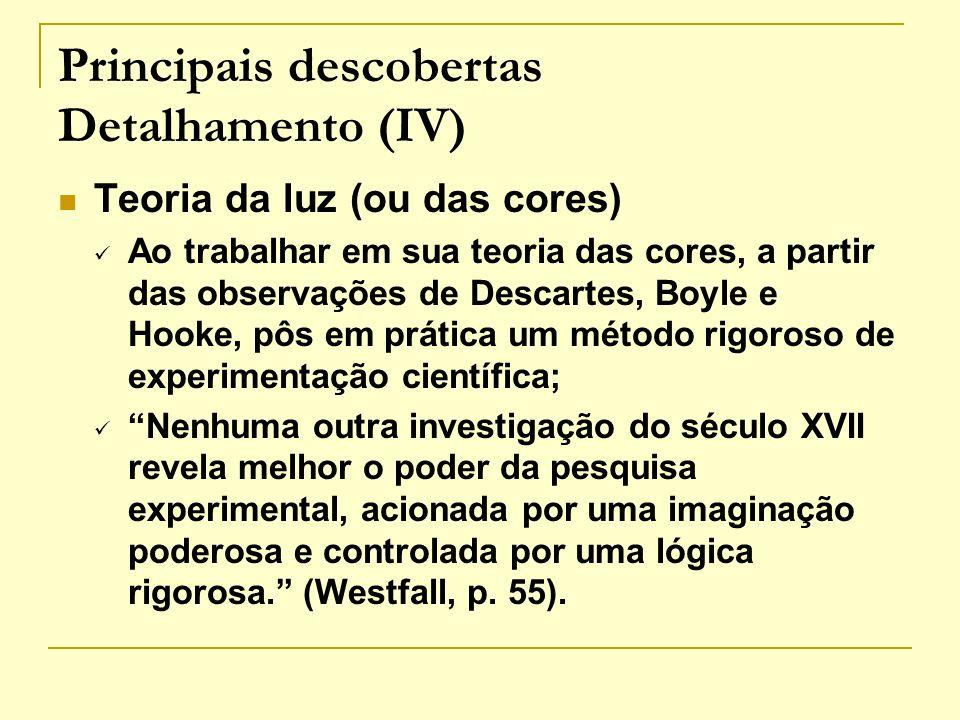 Principais descobertas Detalhamento (IV) Teoria da luz (ou das cores) Ao trabalhar em sua teoria das cores, a partir das observações de Descartes, Boy