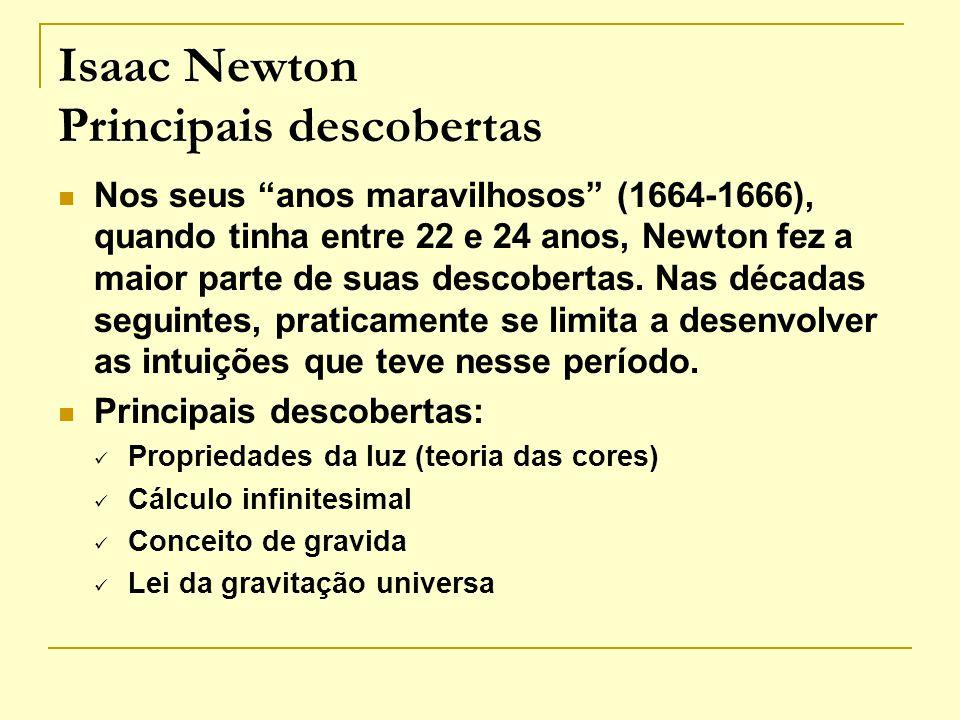 Isaac Newton Principais descobertas Nos seus anos maravilhosos (1664-1666), quando tinha entre 22 e 24 anos, Newton fez a maior parte de suas descober