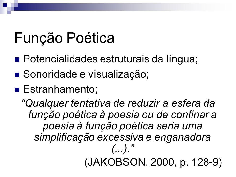 Função Poética Potencialidades estruturais da língua; Sonoridade e visualização; Estranhamento; Qualquer tentativa de reduzir a esfera da função poéti