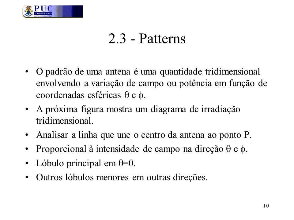 10 2.3 - Patterns O padrão de uma antena é uma quantidade tridimensional envolvendo a variação de campo ou potência em função de coordenadas esféricas