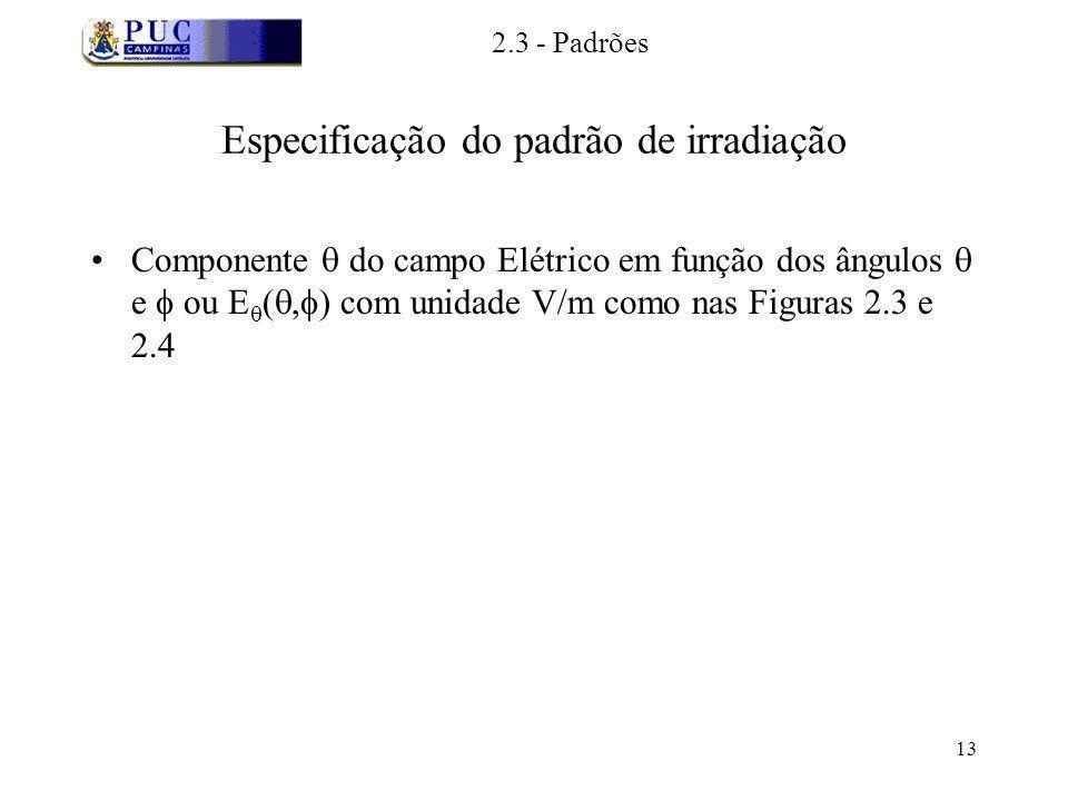 13 Especificação do padrão de irradiação Componente do campo Elétrico em função dos ângulos e ou E (, ) com unidade V/m como nas Figuras 2.3 e 2.4 2.3