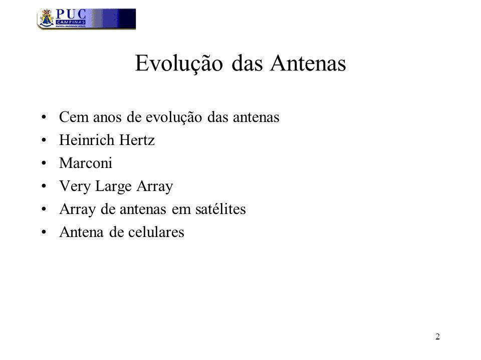 2 Evolução das Antenas Cem anos de evolução das antenas Heinrich Hertz Marconi Very Large Array Array de antenas em satélites Antena de celulares