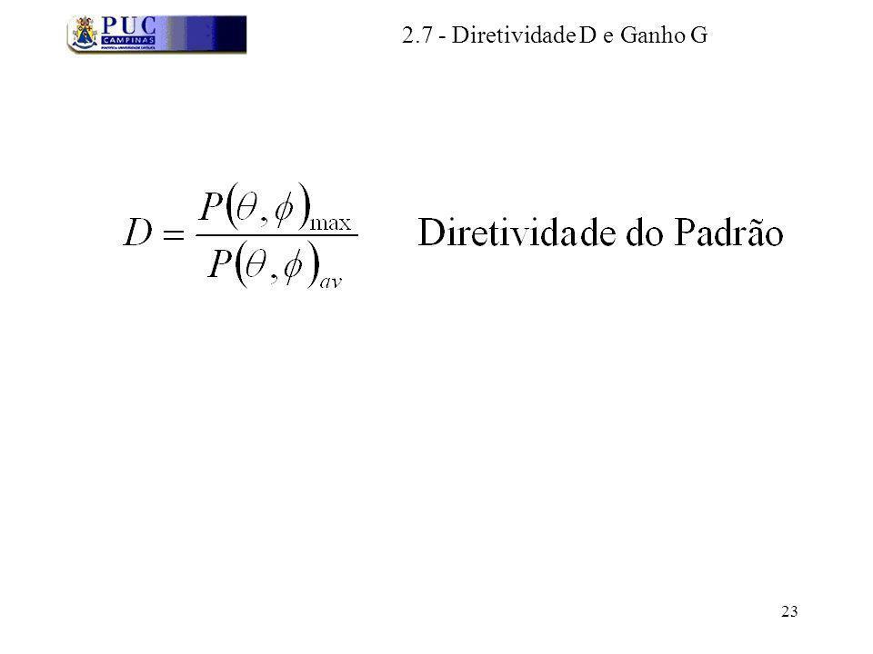 23 2.7 - Diretividade D e Ganho G