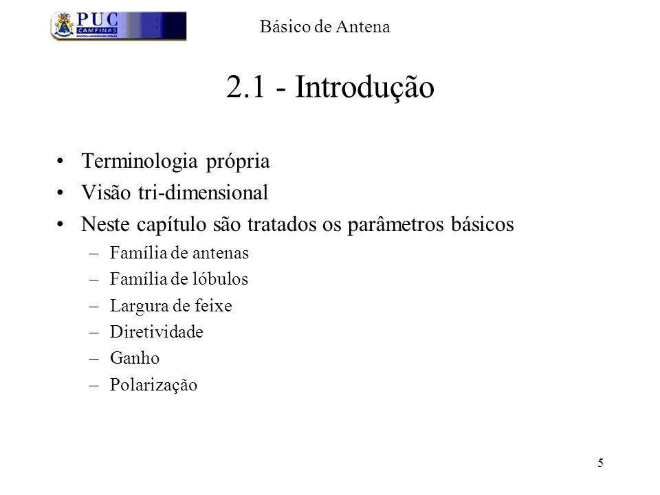 5 2.1 - Introdução Terminologia própria Visão tri-dimensional Neste capítulo são tratados os parâmetros básicos –Família de antenas –Família de lóbulo