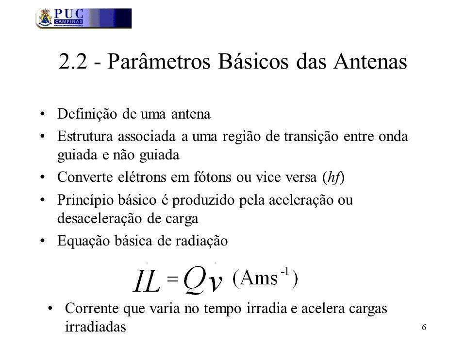 6 2.2 - Parâmetros Básicos das Antenas Definição de uma antena Estrutura associada a uma região de transição entre onda guiada e não guiada Converte e
