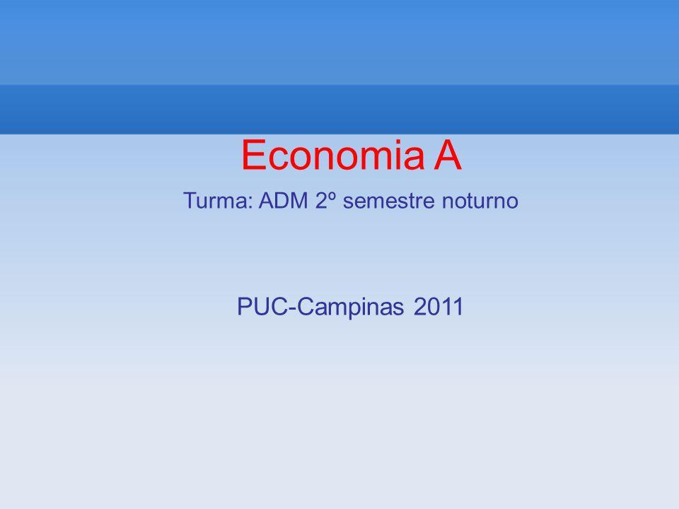 Economia A Turma: ADM 2º semestre noturno PUC-Campinas 2011