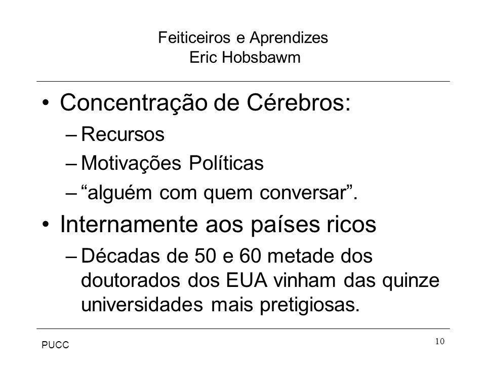 PUCC 10 Feiticeiros e Aprendizes Eric Hobsbawm Concentração de Cérebros: –Recursos –Motivações Políticas –alguém com quem conversar. Internamente aos