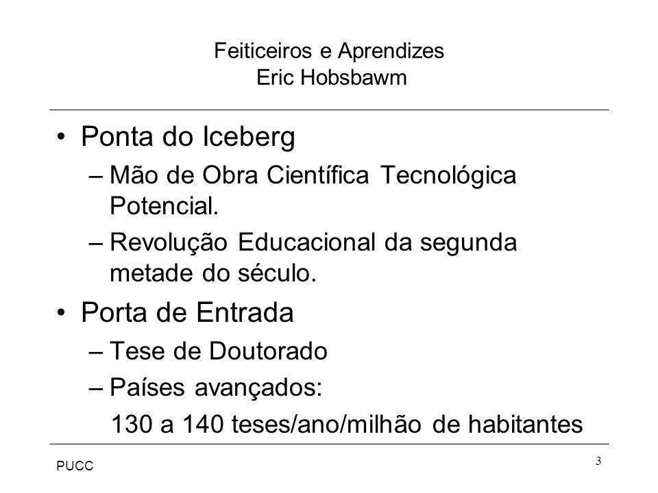PUCC 3 Feiticeiros e Aprendizes Eric Hobsbawm Ponta do Iceberg –Mão de Obra Científica Tecnológica Potencial. –Revolução Educacional da segunda metade