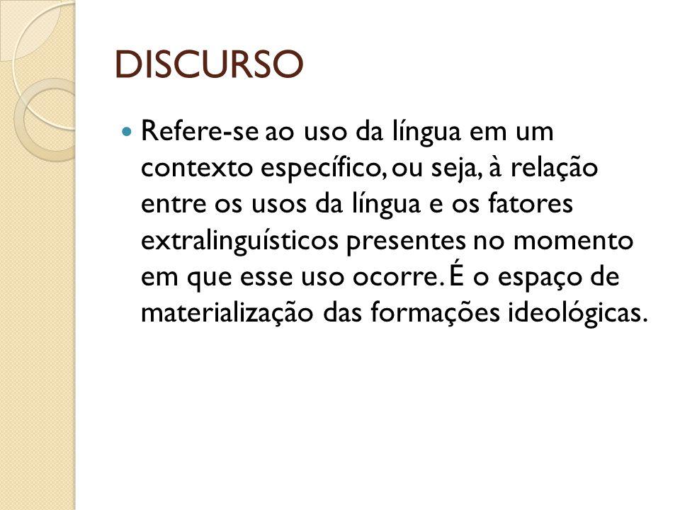 DISCURSO Refere-se ao uso da língua em um contexto específico, ou seja, à relação entre os usos da língua e os fatores extralinguísticos presentes no