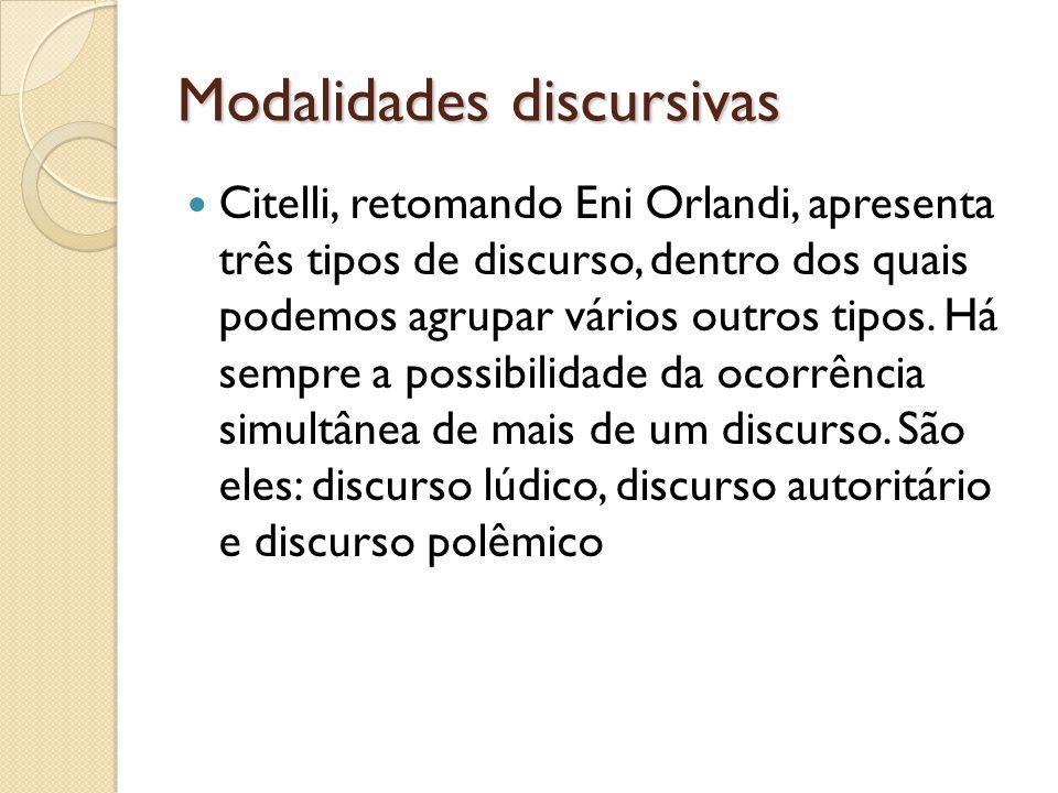 Modalidades discursivas Citelli, retomando Eni Orlandi, apresenta três tipos de discurso, dentro dos quais podemos agrupar vários outros tipos. Há sem