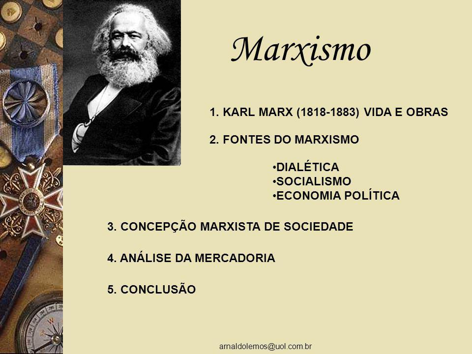 arnaldolemos@uol.com.br Marxismo 1.KARL MARX (1818-1883) VIDA E OBRAS 2.
