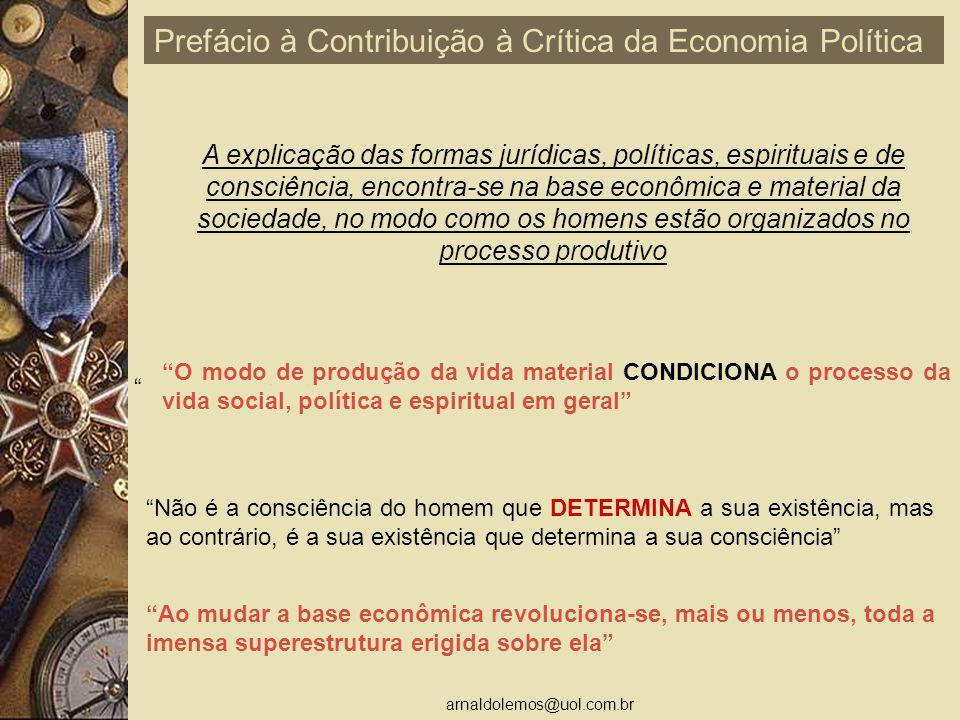 arnaldolemos@uol.com.br O modo de produção da vida material CONDICIONA o processo da vida social, política e espiritual em geral Não é a consciência d
