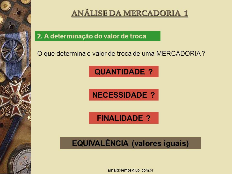 arnaldolemos@uol.com.br ANÁLISE DA MERCADORIA 1 2. A determinação do valor de troca O que determina o valor de troca de uma MERCADORIA ? QUANTIDADE ?