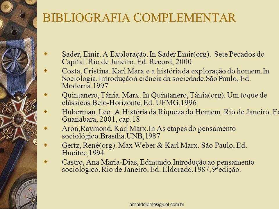arnaldolemos@uol.com.br BIBLIOGRAFIA COMPLEMENTAR Sader, Emir. A Exploração. In Sader Emir(org). Sete Pecados do Capital. Rio de Janeiro, Ed. Record,