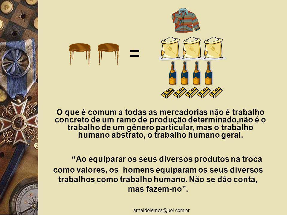 arnaldolemos@uol.com.br Ao equiparar os seus diversos produtos na troca como valores, os homens equiparam os seus diversos trabalhos como trabalho humano.