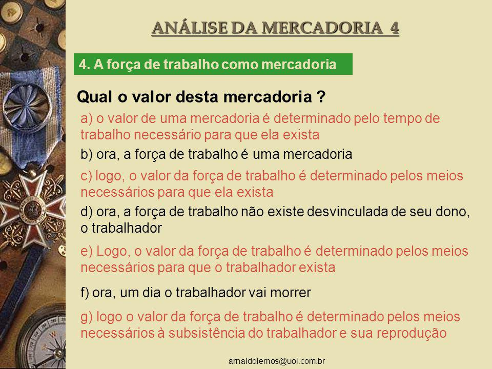 arnaldolemos@uol.com.br ANÁLISE DA MERCADORIA 4 4. A força de trabalho como mercadoria Qual o valor desta mercadoria ? a) o valor de uma mercadoria é