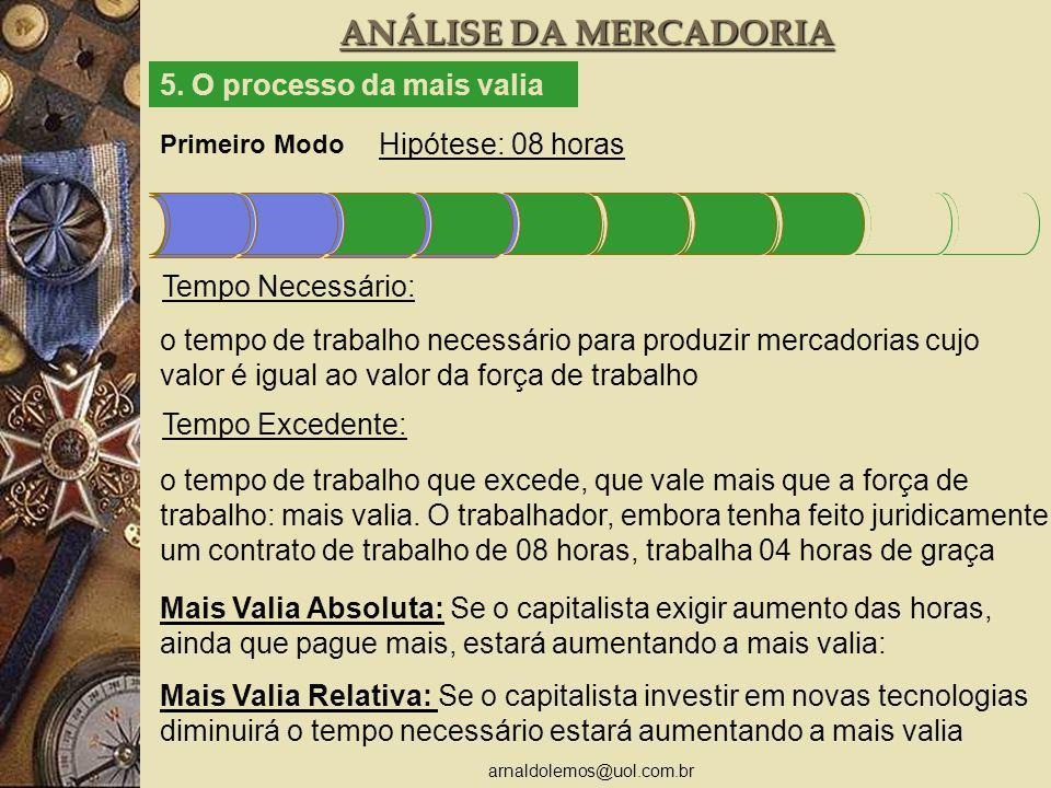 arnaldolemos@uol.com.br ANÁLISE DA MERCADORIA Primeiro Modo Hipótese: 08 horas 5.