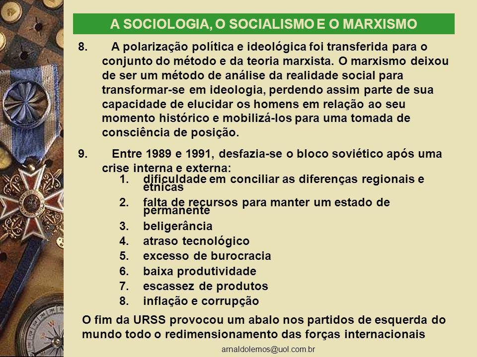 arnaldolemos@uol.com.br A SOCIOLOGIA, O SOCIALISMO E O MARXISMO 8. A polarização política e ideológica foi transferida para o conjunto do método e da