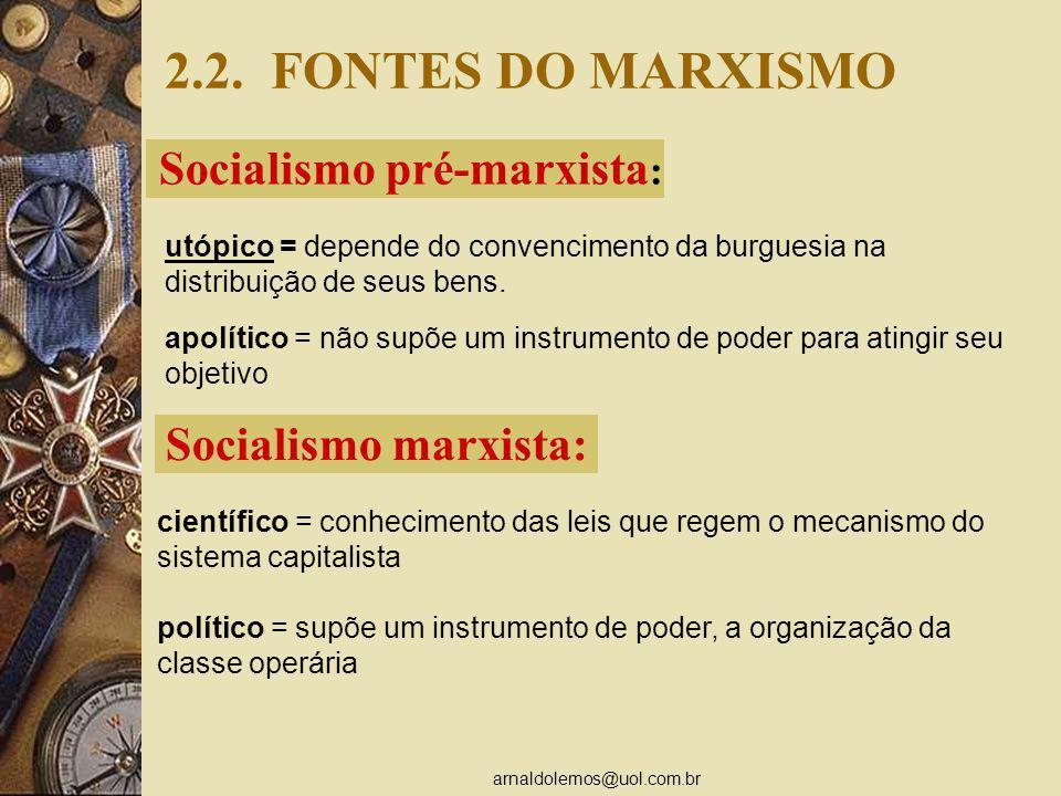 arnaldolemos@uol.com.br 2.2. FONTES DO MARXISMO Socialismo pré-marxista : utópico = depende do convencimento da burguesia na distribuição de seus bens