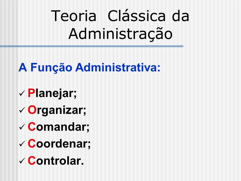 Teoria Clássica da Administração A Função Administrativa: Planejar; Organizar; Comandar; Coordenar; Controlar.